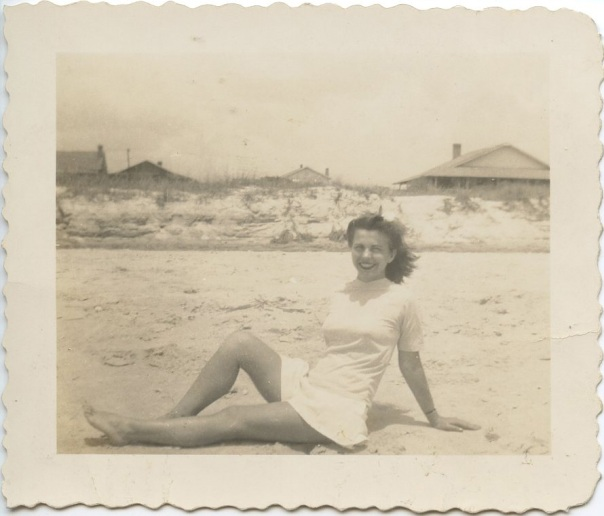 beach grandma in white suit 1930s