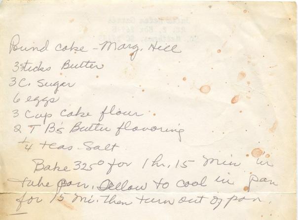 recipe pound cake marg hill