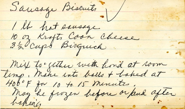 recipe sausage biscuits notecard