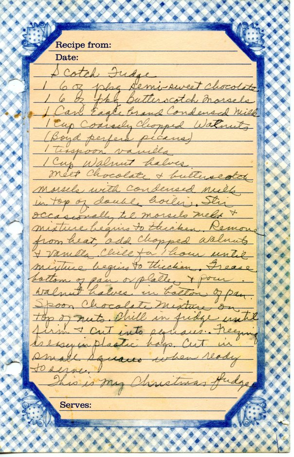 recipe scotch fudge bluesheet