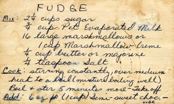 recipe scotch fudge notecard