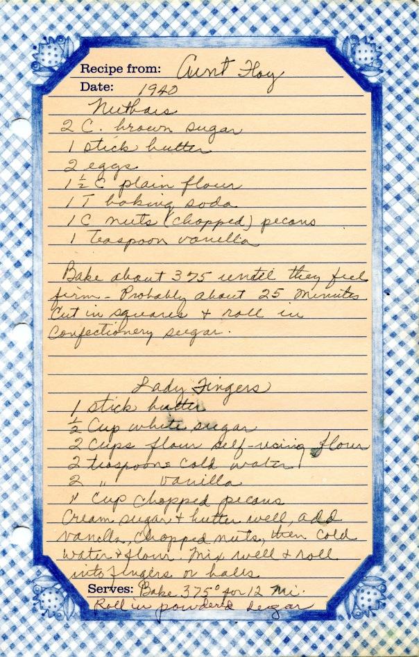 recipe nutbars & ladyfingers
