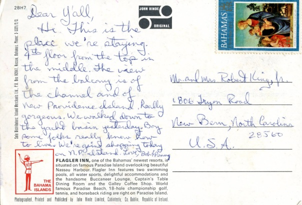 bobpenny honeymoon postcard written