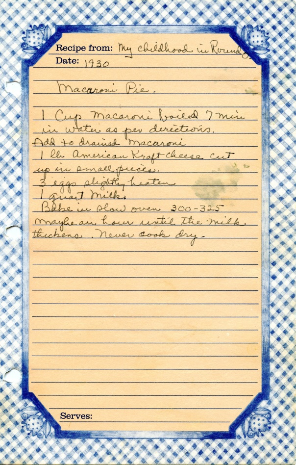recipe macaroni pie bluesheet