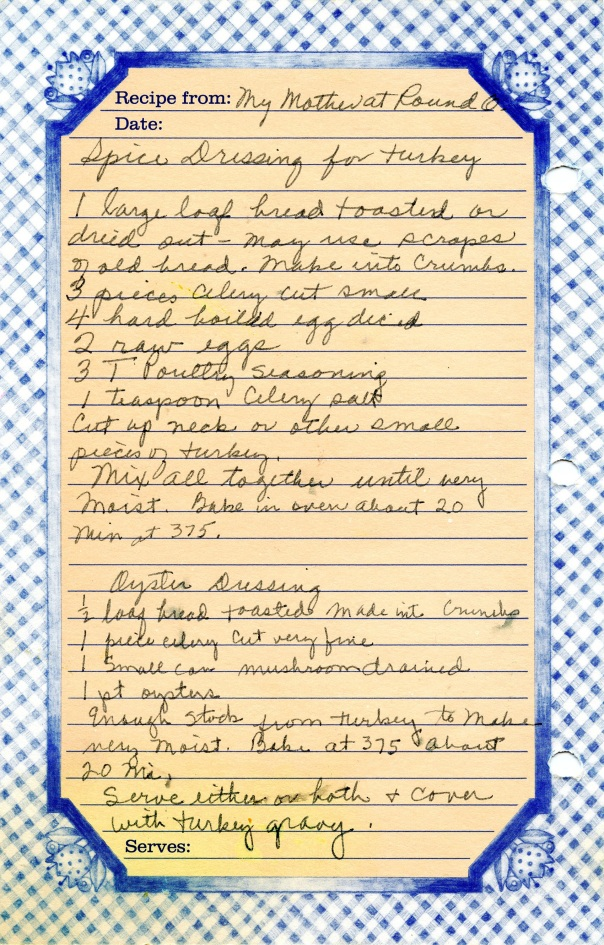 recipe spice dressing & oyster dressing bluesheet
