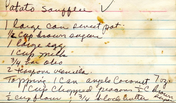 recipe sweet potato soufflee notecard