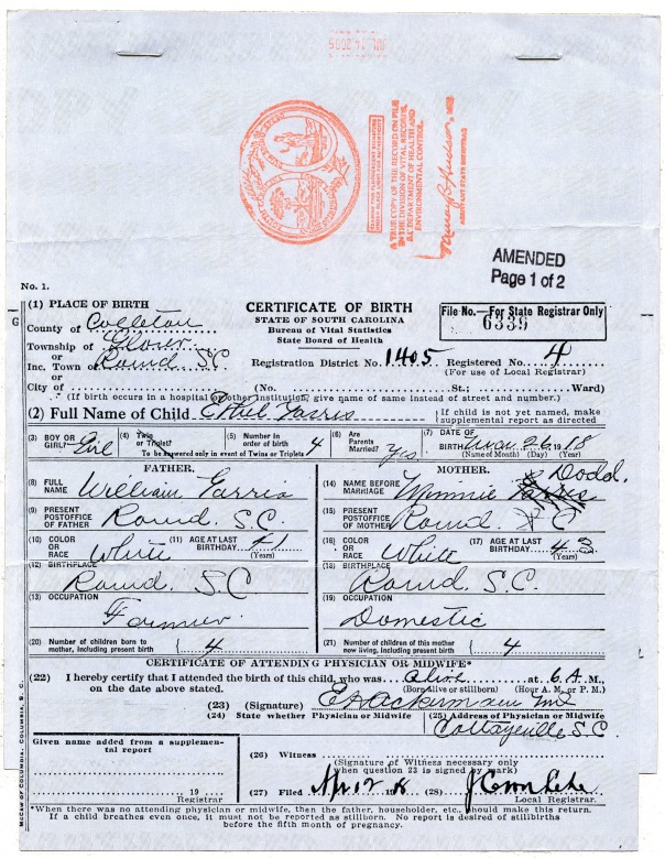 bee birth certificate page 1
