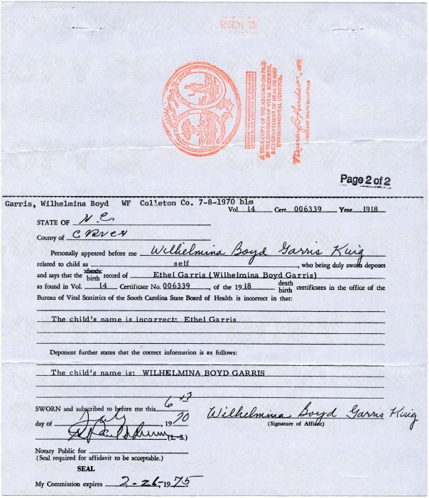bee birth certificate page 2