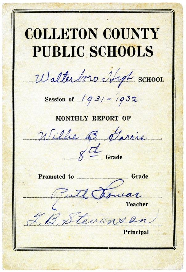 report card 1932